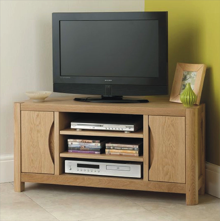 Stockholm Small Corner Tv Unit American Oak And Oak Veneers