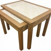 BMT02 O Oyster Tile Top Nest of 2 Tables in Matt Oak