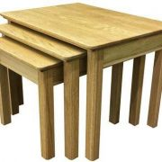 BMT02L SolidTop Large Nest of 3 Tables in Oak