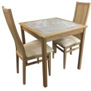 BMT12 Grey Tile Top Small Dining Table with 2 Cambridge Cream Seat Chairs