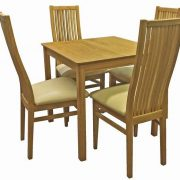 BMT12 Solid Top Small Dining Table with 4 Cambridge Cream Seat Chairs in Matt Oak