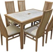 BMT13 Large Dining Table Oyster Tile Top in Oak Set 6-1