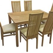 BMT13 Solid Top Large Dining Table with 6 Cambridge Chairs in Oak-1