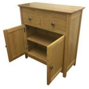 BMT14SN Solid Top Small Sideboard Open Oak