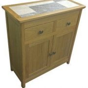 BMT14TMN Matt Oak Oyster Grey Mix tile top small sideboard