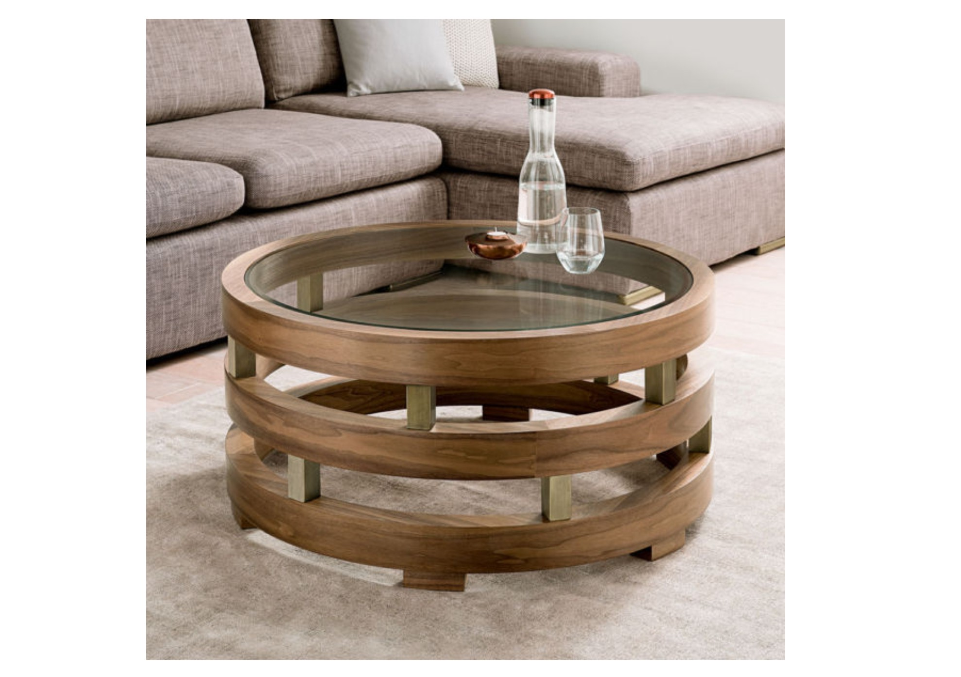 Replay Glass Walnut Coffee Table