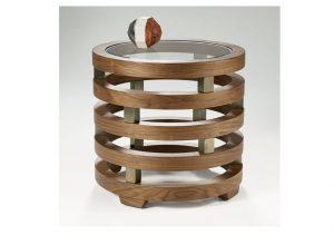 Replay Glass Walnut Round Lamp Table