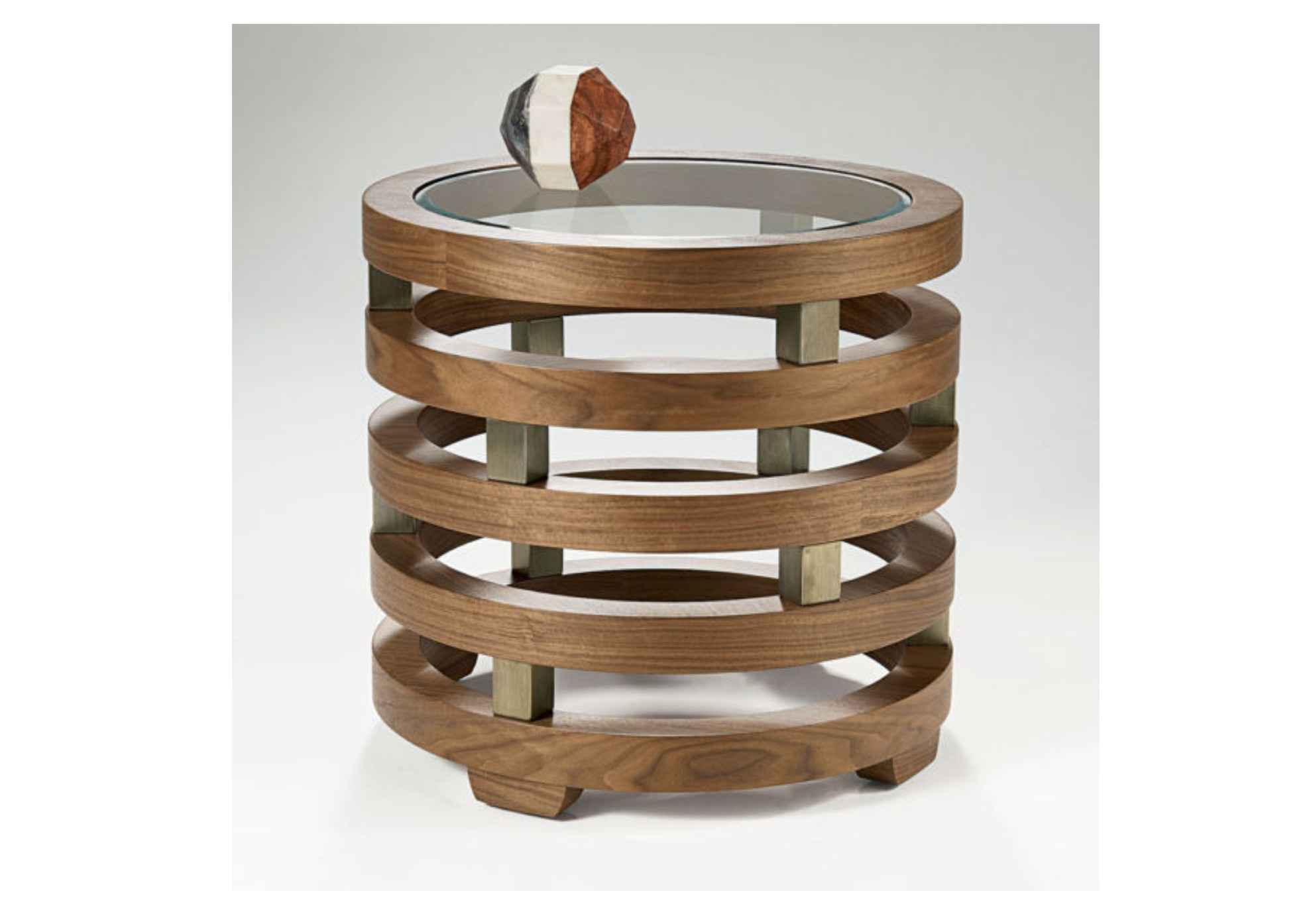 Replay Glass Walnut Round Lamp Table