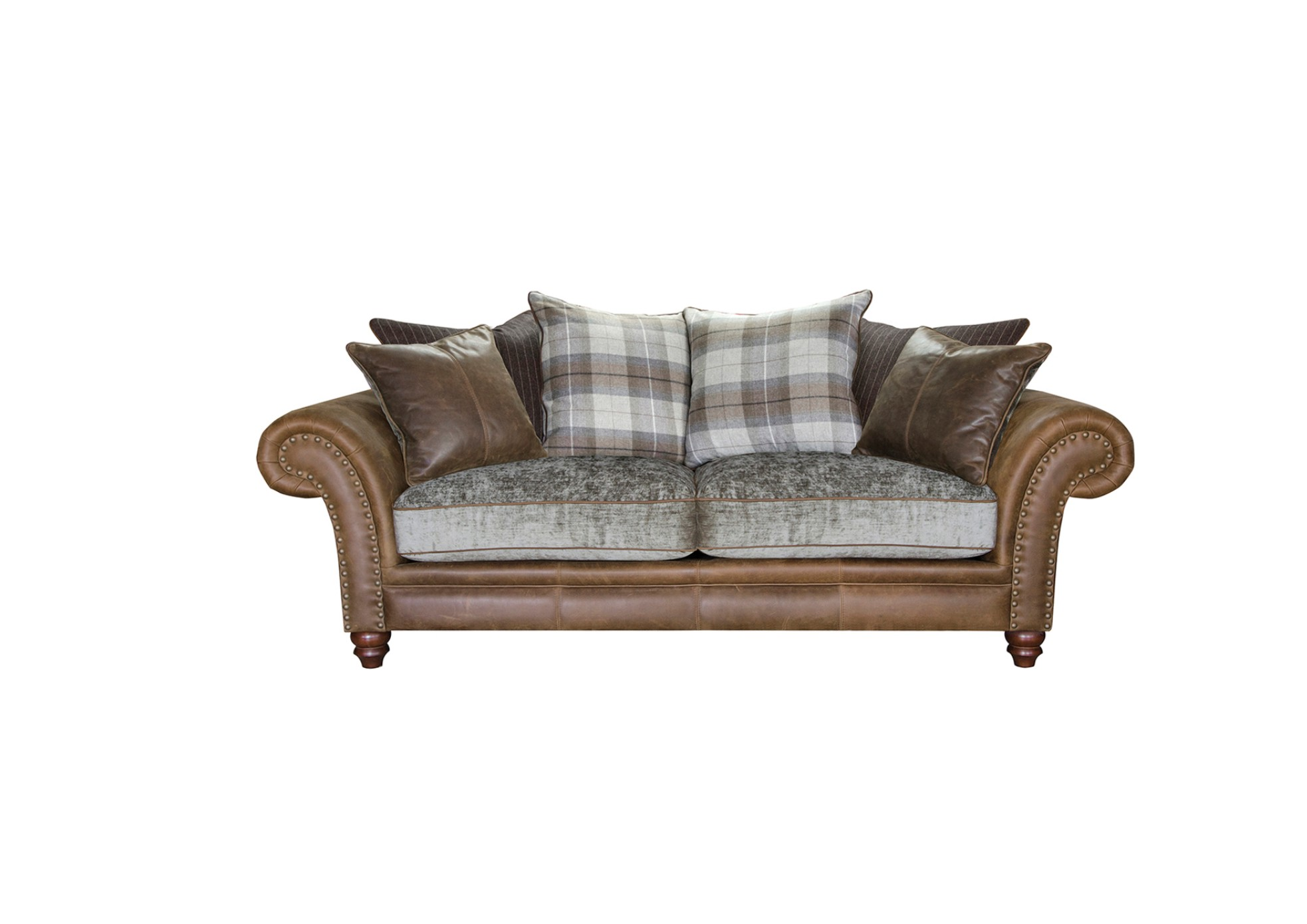 Hudson 3 seater sofa snuggler large grand leather and fabric for Sofa hudson