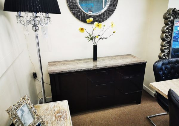 Sophie Black Gloss Marble Top Sideboard Clearance